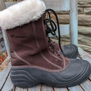 Women's Columbia Brown Leather Lined Snow Boots 8M